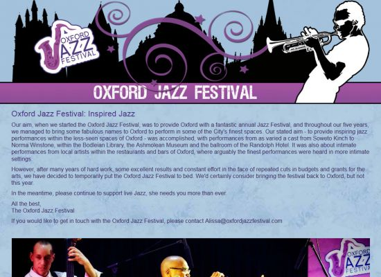 Oxford Jazz Festival Website Design