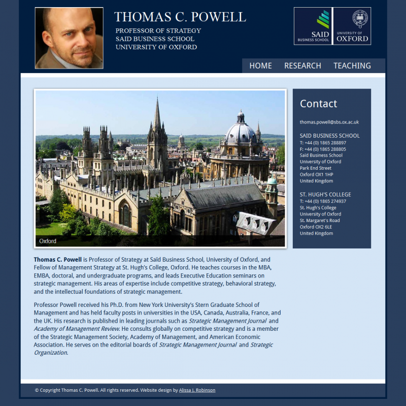 Professor Thomas C. Powell Website Design
